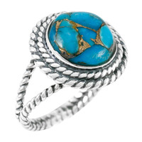 Matrix Turquoise Ring Sterling Silver R2290-C84