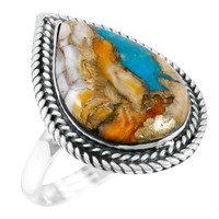 Spiny Turquoise Ring Sterling Silver R2450-C89