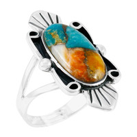 Spiny Turquoise Ring Sterling Silver R2452-C89