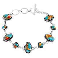 Spiny Turquoise Link Bracelet Sterling Silver B5560-C89