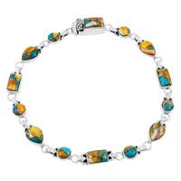 Spiny Turquoise Link Bracelet Sterling Silver B5553-C89