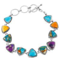 Multi Gemstone Link Bracelet Sterling Silver B5576-C71