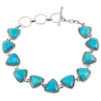 Turquoise Link Bracelet Sterling Silver B5576-C75