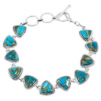 Matrix Turquoise Link Bracelet Sterling Silver B5576-C84