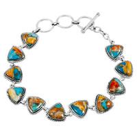 Spiny Turquoise Link Bracelet Sterling Silver B5576-C89