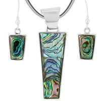 Abalone Pendant & Earrings Set Sterling Silver PE4012-C10