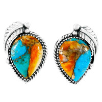 Spiny Turquoise Earrings Sterling Silver E1312-C89