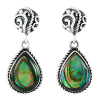 Sterling Silver Earrings Abalone Shell E1317-C10