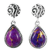Purple Turquoise Earrings Sterling Silver E1317-C77