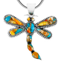 Sterling Silver Dragonfly Pendant Spiny Turquoise P3265-C89