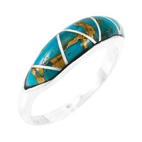Sterling Silver Stackable Ring Matrix Turquoise R2052-C84