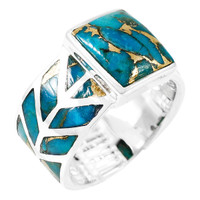 Matrix Turquoise Ring Sterling Silver R2372-C84