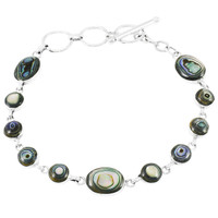 Abalone Link Bracelet Sterling Silver B5558-C10