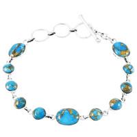 Marix Turquoise Link Bracelet Sterling Silver B5558-C84