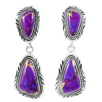 Sterling Silver Earrings Purple Turquoise E1322-C77