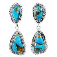 Sterling Silver Earrings Matrix Turquoise E1322-C84
