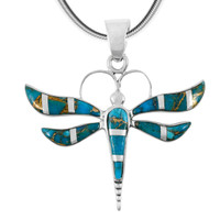 Matrix Turquoise Dragonfly Pendant Sterling Silver P3138-C84