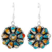 Spiny Turquoise Earrings Sterling Silver E1112-C89