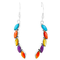 Multi Gemstones Earrings Sterling Silver E1324-C71