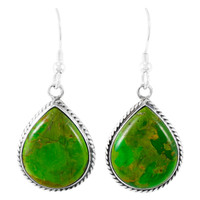 Sterling Silver Drop Earrings Green Turquoise E1269-C76