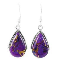 Sterling Silver Drop Earrings Purple Turquoise E1298-C77