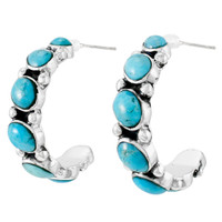Sterling Silver Hoop Earrings Turquoise E1325-C75