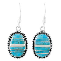 Sterling Silver Drop Earrings Turquoise E1323-C05