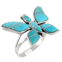 Butterfly Ring Sterling Silver Turquoise R2287-C05