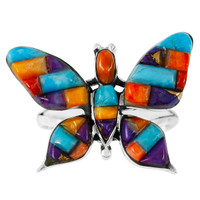 Butterfly Ring Sterling Silver Multi Gemstone R2287-C51