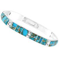 Matrix Turquoise Link Bracelet Sterling Silver B5518-C84