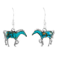 Matrix Turquoise Horse Earrings Sterling Silver E1054-C84