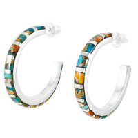 Spiny Turquoise Hoop Earrings Sterling Silver E1122-C89