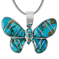 Matrix Turquoise Butterfly Pendant Sterling Silver P3146-C84