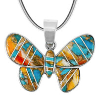 Spiny Turquoise Butterfly Pendant Sterling Silver P3146-C89