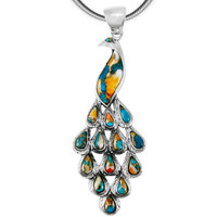 Spiny Turquoise Peacock Pendant Sterling Silver P3215-C89