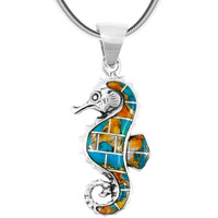 Spiny Turquoise Sea Horse Pendant Sterling Silver P3149-SM-C89