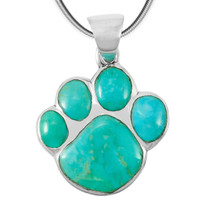 Greenish-Blue Turquoise Paw Pendant Sterling Silver P3178-C88