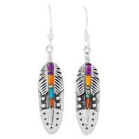 Multi Gemstone Feather Earrings Sterling Silver E1244-C00