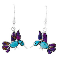 Sterling Silver Hummingbird Earrings Multi Gemstones E1188W-C96