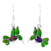 Sterling Silver Hummingbird Earrings Multi Gemstones E1188W-C98
