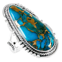 Matrix Turquoise Ring Sterling Silver R2318-C84