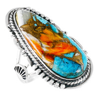 Spiny Turquoise Ring Sterling Silver R2318-C89