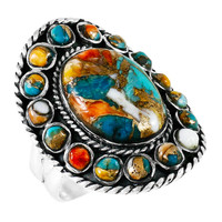 Spiny Turquoise Ring Sterling Silver R2031-C89