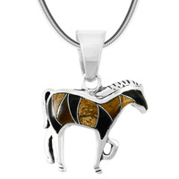 Tigers Eye Horse Pendant Sterling Silver P3109-C33