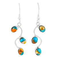 Spiny Turquoise Earrings Sterling Silver E1335-C89