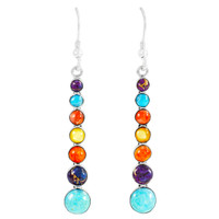 Multi Gemstones Earrings Sterling Silver E1334-C71