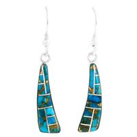 Matrix Turquoise Drop Earrings Sterling Silver E1289-C84