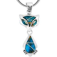 Sterling Silver Fox Pendant Matrix Turquoise P3150-C84