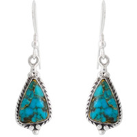 Sterling Silver Earrings Matrix Turquoise E1065-SM-C84