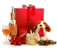 UK - Rose Chocolates & Cuddly Dog